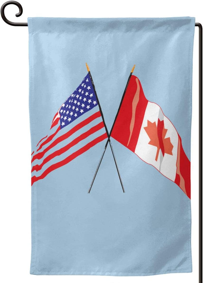 N/P Garden Flag, Canadian American Flag Vertical Double Sided 12.5 X 18 Inch Spring Summer Decorative Welcome House Flag for Yard Banners Patio Outdoor Decor