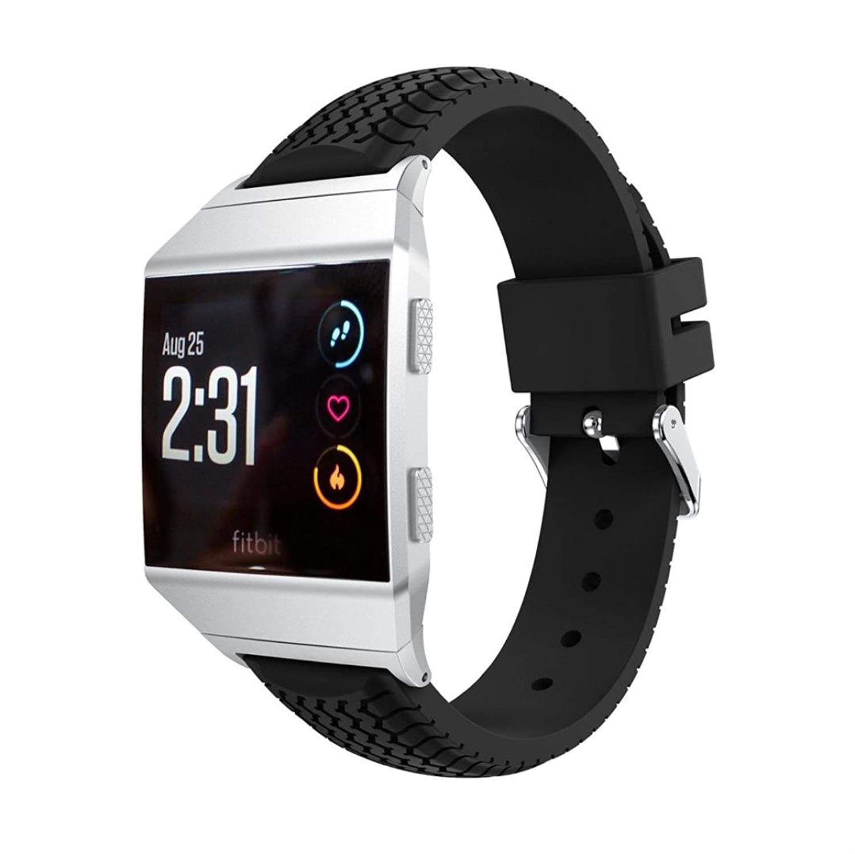 charberryタイヤパターンソフトシリコン交換用リストバンド手首ストラップfor Fitbit Ionic 140-210mm(5.5