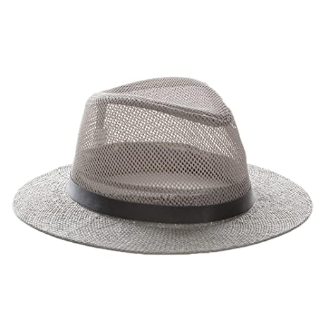 d07b282e131 Amazon.com   ALWLj Mesh Jazz Cap Man Straw Panama Hat Summer Beach Sun  Visor Cap Wide Brim Male Sunhat Sombrero Panama Chapeau   Sports   Outdoors