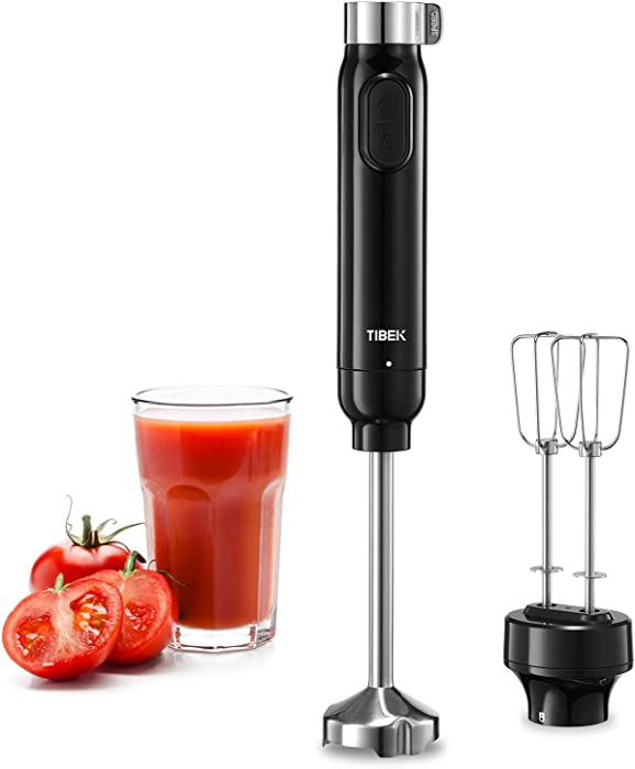 Hand Blender Immersion Stick Blender Multi-Speed Adjustable(Max & Min) with 304 Stainless Steel Blade and 2 Beaters for Soups, Baby Food, Egg and More, Include Heavy Duty Copper Motor and Safe Lock
