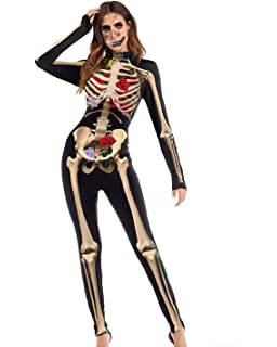 bef29442d4 DULEE Female Halloween 3D Style Skeleton Jumpsuits Cosplay Role Playing  Jumpsuit Clothing Masquerade Catsuit Fancy Dress
