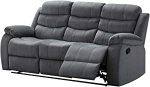 AC Pacific Contemporary Living Room Upholstered, Sofa with, 2 Recliners, Grey