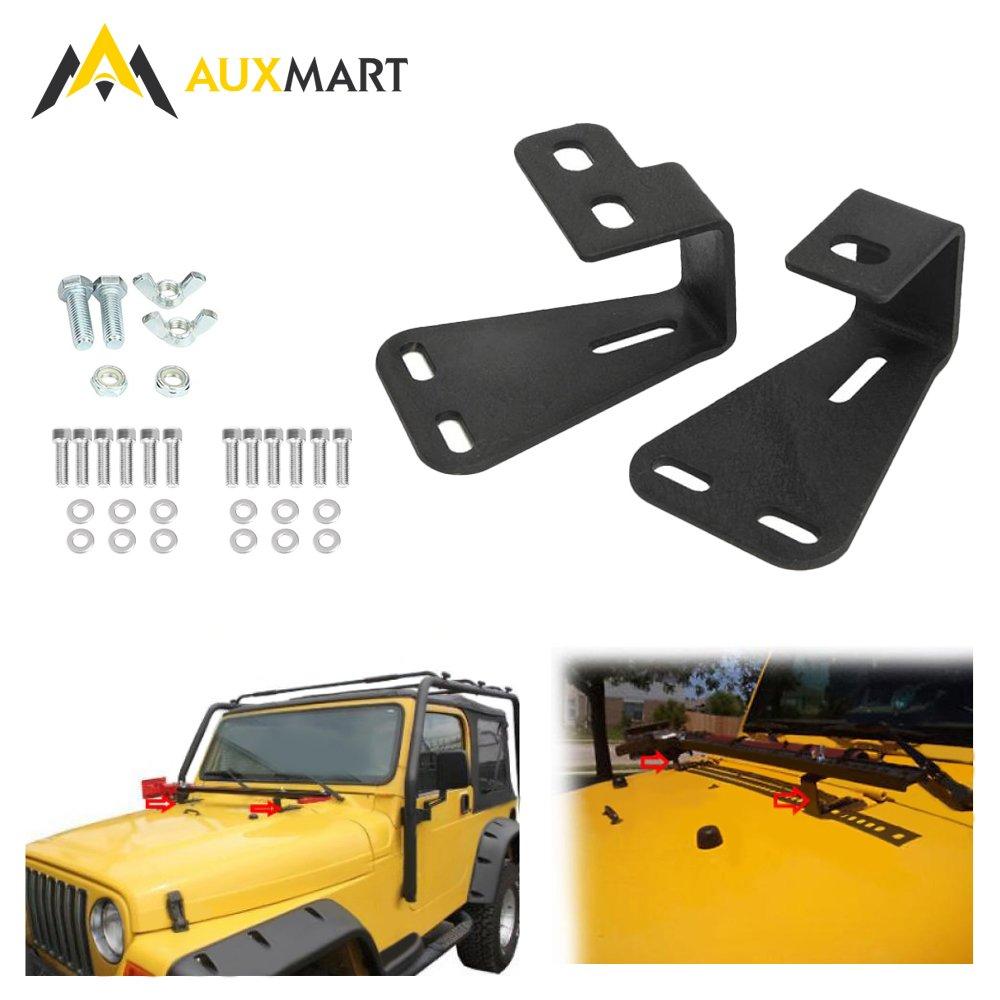 AUXMART High Lift Jack Mount Hood Bracket Fit for Jeep Wrangler CJ 1944-1986// YJ 1987-1995//TJ 1997-2006 Black Pair