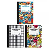 FLOMO Boy Composition Notebooks - Food, Graffiti, Plaid (3 Pack) wide ruled composition notebook, marble composition notebook, marble book, composition notebook, composition notebooks