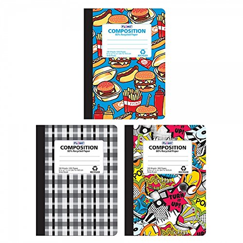 FLOMO Boy Composition Notebooks - Food, Graffiti, Plaid (3 Pack) wide ruled composition notebook, marble composition notebook, marble book, composition notebook, composition notebooks by FLOMO