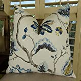 Thomas Collection Floral Throw Pillow, Decorative Throw Pillow, Embroidered Blossom Accent Pillow, White Gray Aqua Blue Yellow Modern Accent Pillow, COVER ONLY, NO INSERT, Made in America, 11181
