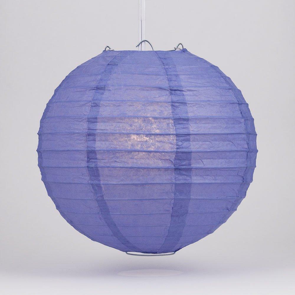 Quasimoon PaperLanternStore.com 36'' Astra Blue Round Paper Lantern, Even Ribbing, Hanging Decoration