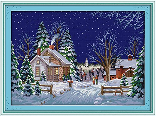 YEESAM ART New Cross Stitch Kits Advanced Patterns for Beginners Kids Adults - Country Walks 11 CT Stamped 68×52 cm - DIY Needlework Wedding Christmas (Graduation Cross Stitch Patterns)