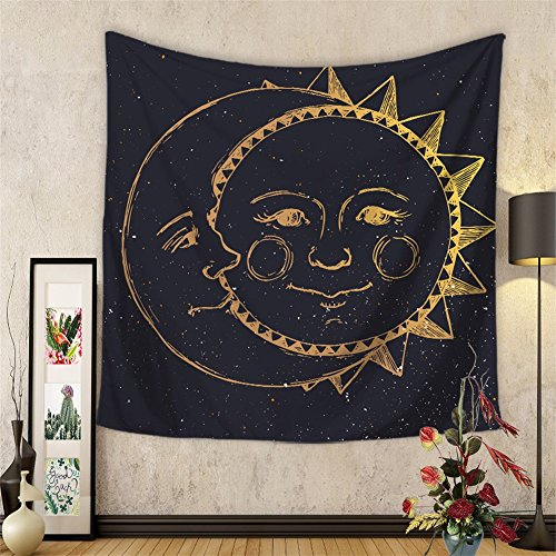 61sPlIR6onL - Celestial Indian Sun and Moon Hippie Tapestry Wall Hanging Throw Tie Dye Hippie Hippy Boho Bohemian Wall Art Window Curtain Table Cover Bedspread Beach Towel HYC20-US