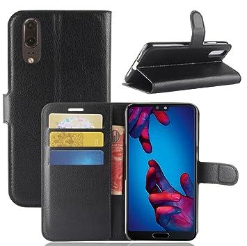 tui à Clapet cuir Noir Huawei P20 pKnAGiO0T