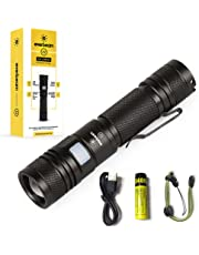 Everbeam E2 LED Tactical Flashlight 950 Lumen Bright Torch, USB Rechargeable, Zoomable, Adjustable Lanyard, Waterproof, 3400 mAh 18650 Battery and 12 Hours Runtime | Inspection Work Hiking Emergency Outdoor Hunting Police EDC Handheld Survival