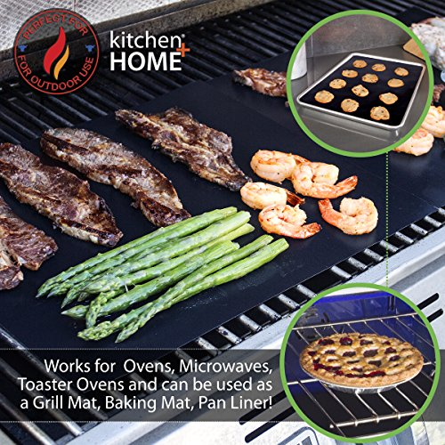 Kitchen + Home Oven Liner Set of 2 – Large Heavy Duty 100% PFOA & BPA Free – FDA Approved Non-stick Reusable Oven Liner for Gas, Electric & Microwave Ovens – Works as Baking Mat & Grill Mat by Kitchen + Home (Image #3)