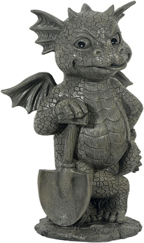 Garden Figurine Decoration Gardener Gargoyle Jard/ín Drag/ón GD-195 MystiCalls Con la pala! Dulce