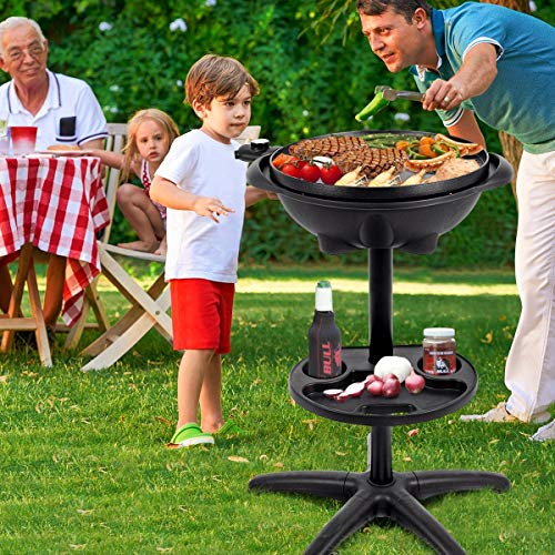 Snow Shop Everything Enjoy a Tasty Barbecue Without Smoke with Professional Electric Grill 1350 W Outdoor Electric BBQ Grill with Removable Stand