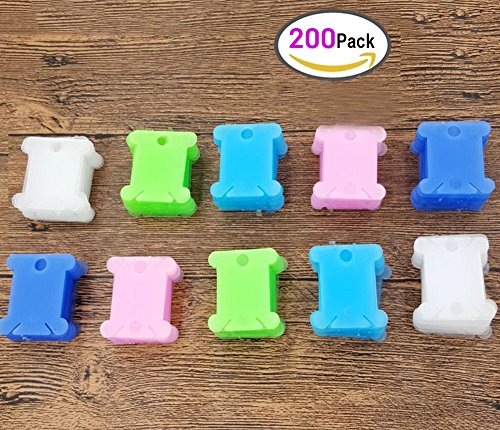 200pcs Plastic Embroidery Floss Craft Thread Bobbins Supplies Organizer Storage Holder for Cross Stitch Sewing Needlecraft [5 Colors] (Thread Plastic)