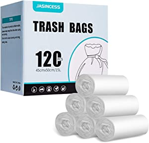 JASINCESS 4 Gallon Strong Trash Bags Garbage Bags Small Plastic Bags for home office kitchen (Clear, 120)