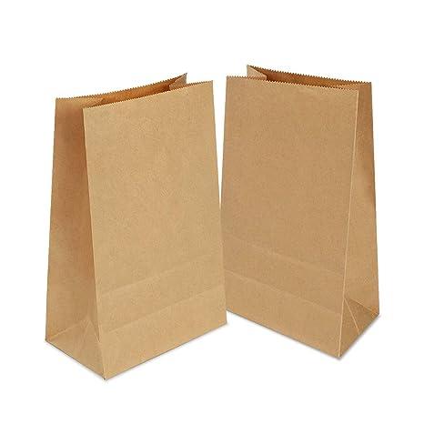 100 Piezas Bolsas Papel Kraft,Bolsas Regalo,Bolsas Papel Pequeñas sin Asas para Chuches Bocadillos Ban Almuerzo Bocadillo Bolsa Llevar (marrón)