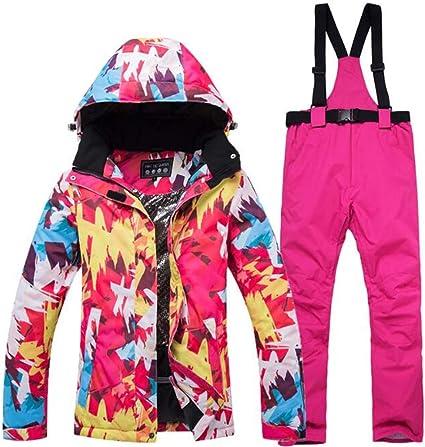 EDTara Womens Ski Snowsuit Hooded Jacket /& Pants,Warm Waterproof Ski Jacket Pants Snow Windproof Skiing Snowboarding Suits