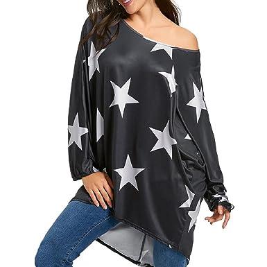 a064f07523120 GONKOMA Hot Sale! Women s Girl Tops T-Shirt Strapless Star Long Sleeve Crop  Blouse