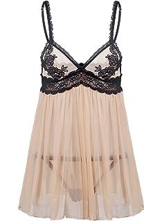3e5e3a9f389 Justgoo Women Sexy Lingerie Lace Sleepwear Babydoll G-String Patchwork  Miniskirt