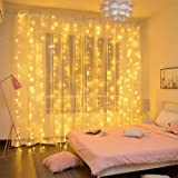 Curtian String Lights, 300 LEDs Window Curtain Fairy Lights Copper Wire Twinkle Star String Lights USB Remote Control 8…