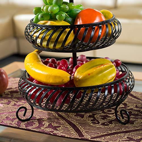 Moolo Obstschale Obstteller Eisenkunst Fr/üchtekorb Mode Obstschale Haushalt K/üche Lagerregal 3-lagiger Trockenfr/üchteteller Obstteller