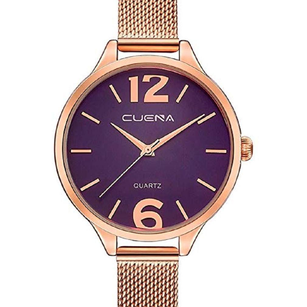 ScpinkRelojes de Cuarzo para Mujeres, Liquidación Relojes para Mujeres Relojes analógicos Correa de Malla de Acero Inoxidable Reloj de Regalo (Morado): ...