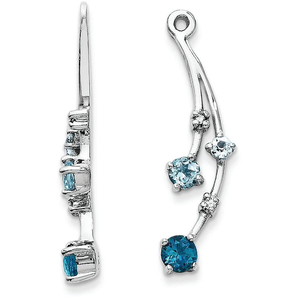14k Gold Blue Topaz and Diamond Drop Dangle Jackets for Stud Earrings - (White-Gold)