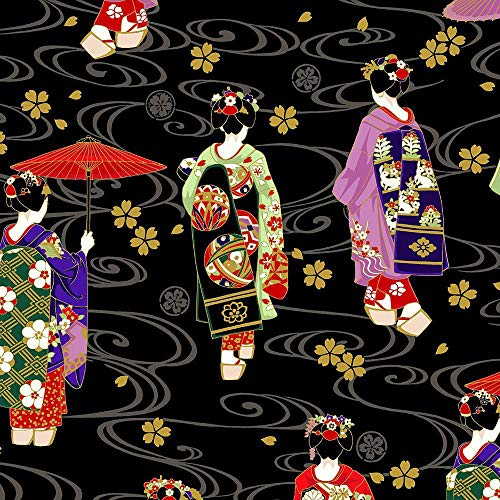 BTY Black//Gold Metallic Asian Japanese Quilt Fabric Asian Dreamscape