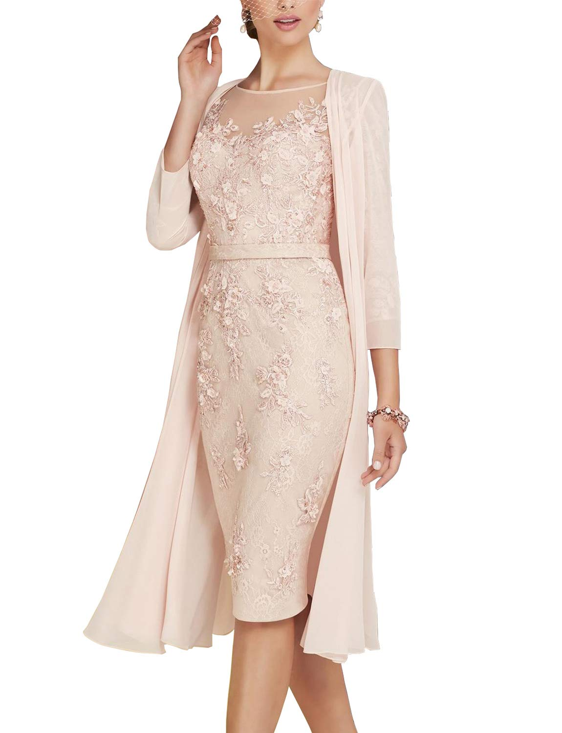Newdeve Lace Floral Applique Mother of The Bride Dresses Cocktail Knee Length with Jacket