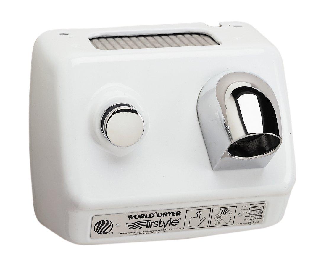 World Dryer World Airstyle B1-974CU Cast Iron Hair Dryer, Cast Iron, White