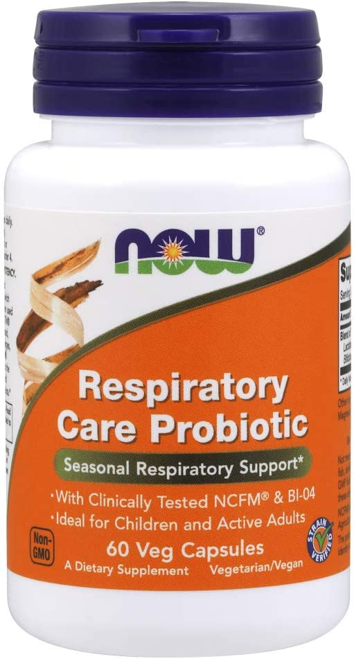 NOW Supplements, Respiratory Care Probiotic, with Clinically Tested NCFM & BI-04, 60 Veg Capsules