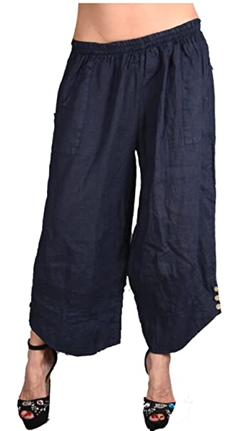 Damen Weite Leinenhose Capri Bermudas Lagenlook Sommer Leinen Hose  Haremshose Harem Shorts Pumphose 40 42 44 83d3940ded