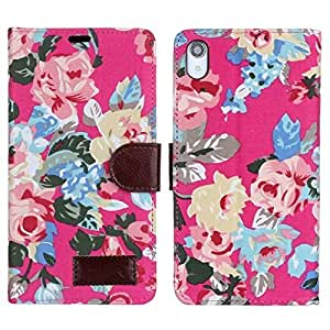 Bfun Packing Hot Pink Beautiful Flower Floral Wallet Leather Cover Case For Sony Xperia Z2