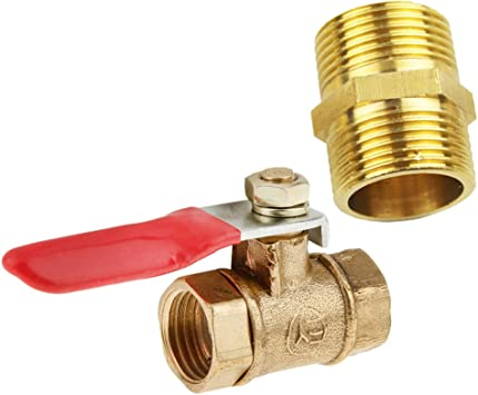 8mm Brass Ball Valve Full Port Gas Air Fluid Use Shut-Off with Red Handle