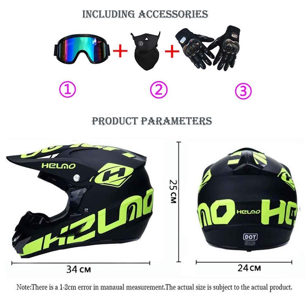 Motorcycle Off-Road DH Enduro Racing Downhill Dirt Bikes MTB ATV BMX Quads Motorbike Helmet for Adult Men Women LEENY Motocross Crash Helmet with Goggles Mask Gloves