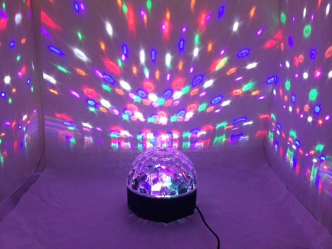 VStoy Disco DJ Stage Lighting LED RGB Crystal Magic Ball DMX light KTV Christmas Party With MP3 Bluetooth Loudspeaker Memory Card Wireless Presenter function VS-1004-102