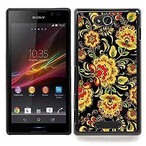 Eason Shop / Premium SLIM PC / Aliminium Casa Carcasa Funda Case Bandera Cover - Dise?o floral del papel pintado del arte Flores amarillas - For Sony Xperia C