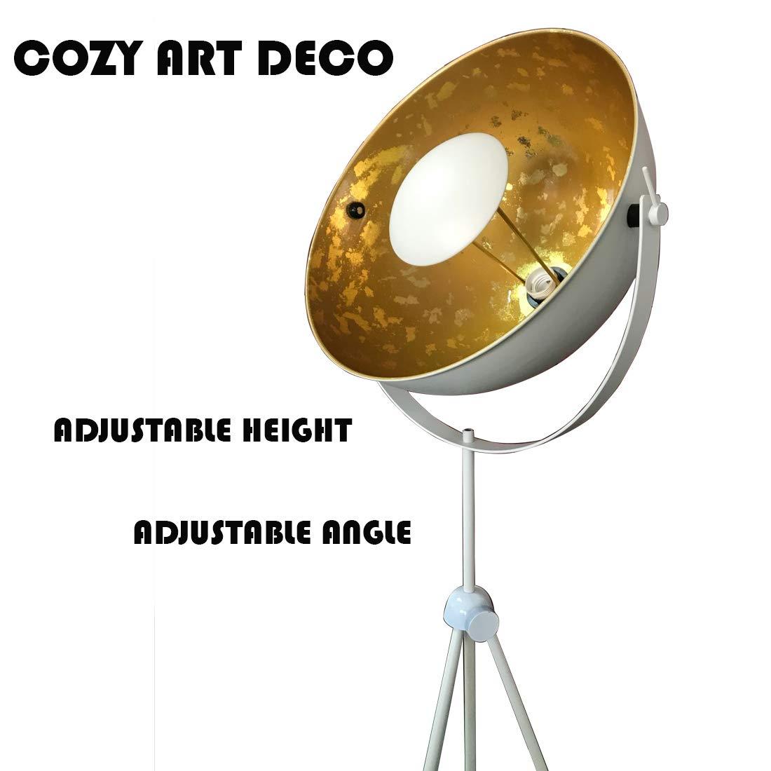 Modern Satellite Tripod Stand White Gold Floor Table Lamp Adjustable Designer Vintage Industrial Standing Light Fixture Nautical Lighting E26 Gold-White