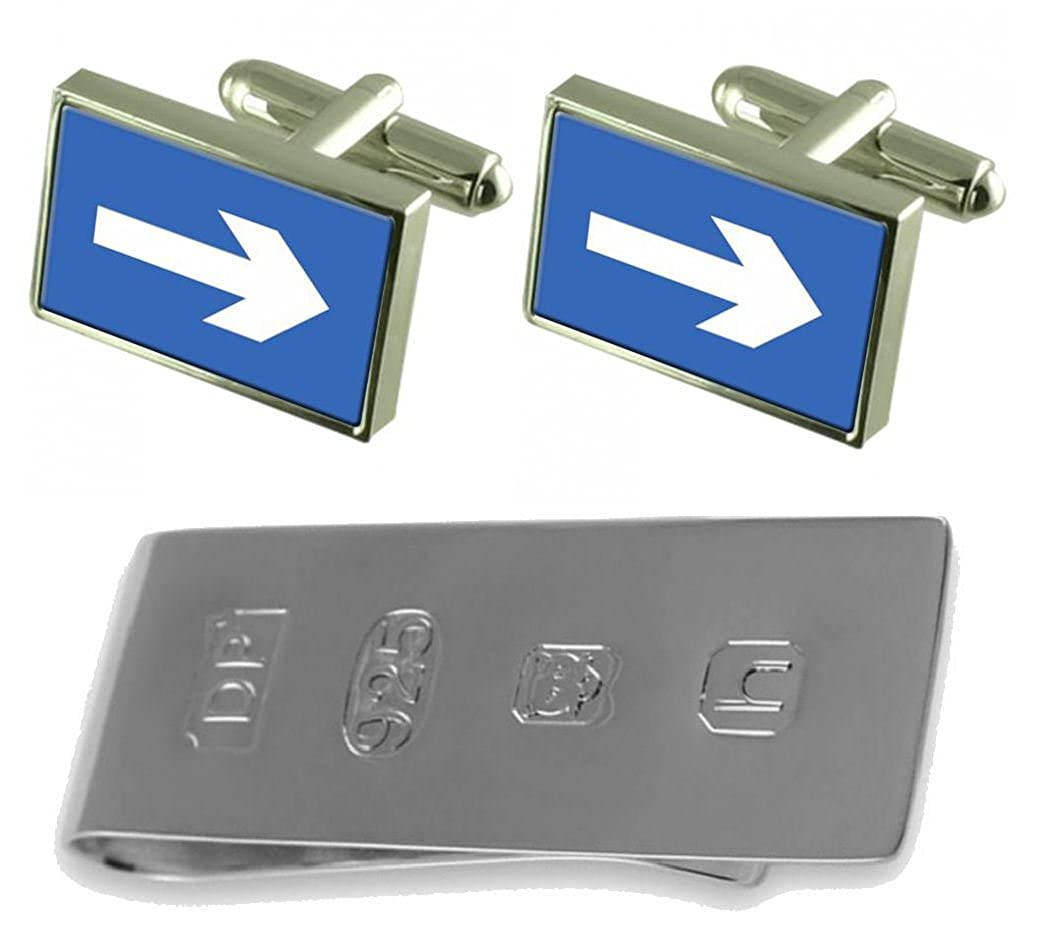 Select Gifts Road One Way Sign Cufflinks /& James Bond Money Clip GS1620-APS487J