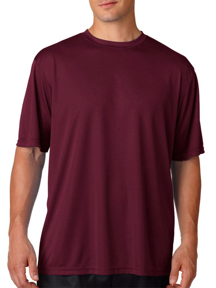 A4 Adult Cooling Performance T-Shirt, Maroon, Large by A4