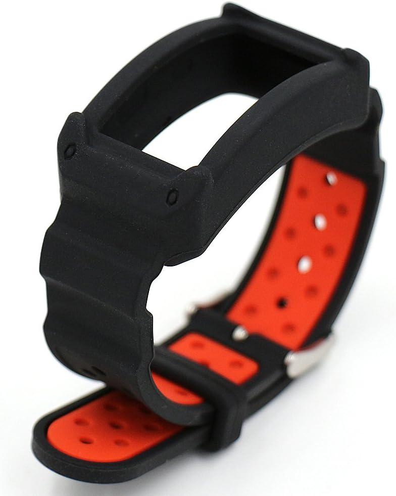 Woodln Silicón Repuesto Correa Reloj Band para Samsung Gear Fit2 SM-R360 Actividad Deporte Inteligente Accesorios Correas de Reloj (Black Red)