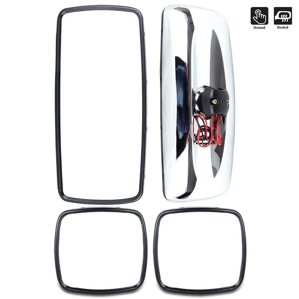 ECCPP 2PCS Main Mirrors Chrome Housing Driver and Passenger Side Flat Mirrors Replacement fit for 2004-2016 Freightliner Columbia Freightliner M2 Manual Adjusted Heated BHBU0503A1759