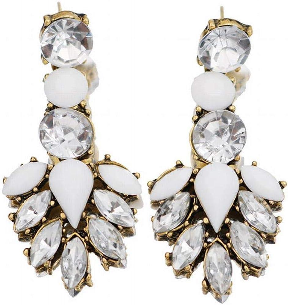 ZRDMN Pendientes de botón de mujer Bohemio franja vintage con diamantes de gota Pendientes de piedras preciosas Pendientes de cristal