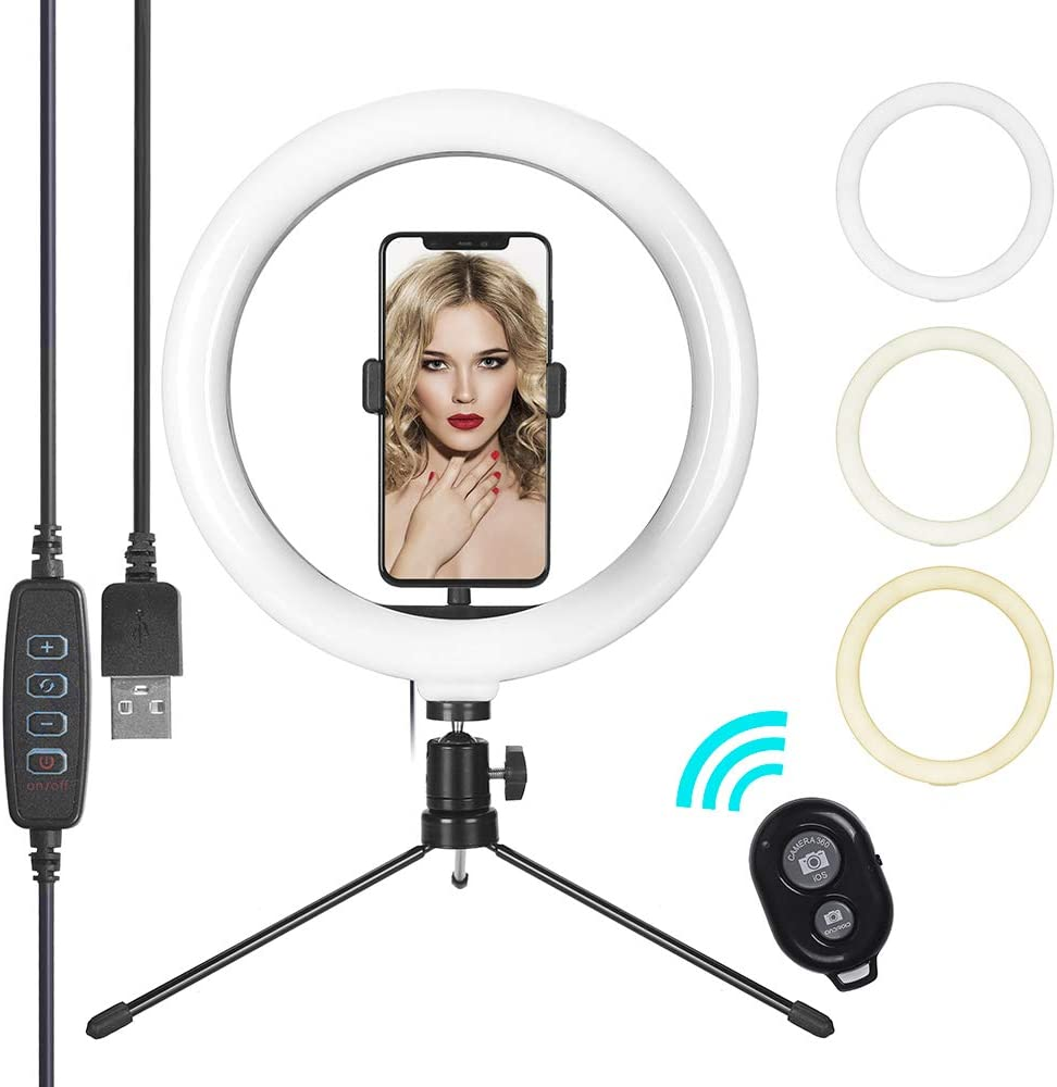Selfie Ring Light with Tripod Stand & Cell Phone Holder, Eroboo 10.2'' LED Camera Ring Light for Live Stream/Youtute/TikTok/Photography, 3 Light Modes & 10 Brightness Levels