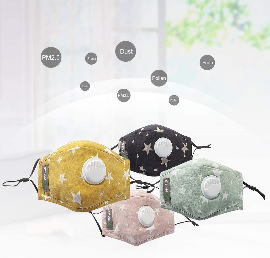Baby Reusable Dustproof Mouth Shields Tuscom 4PC Kids Face Bandanas with Breathing Valve 8 Activated Carbon Filters