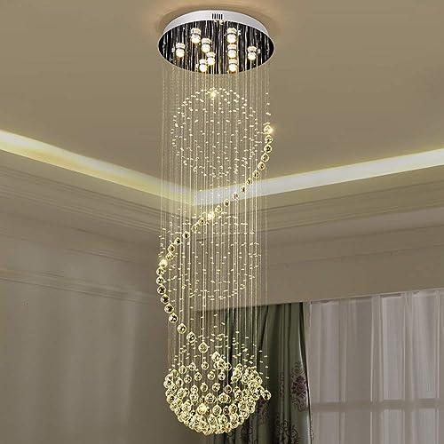 Crystal Chandelier Spiral Sphere Rain Drop K9 Ceiling Light Fixture