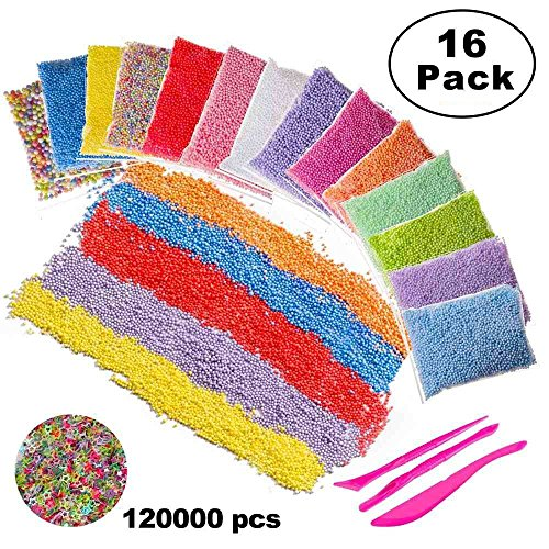 Foam Balls for Slime,16 Sets with Slime Tools (120000 pcs) 0.08-0.32 inch Colorful Styrofoam Balls Beads Mini Small Foam beads for Slime Decorative Ball Arts DIY Crafts Supplies For Homemade Slime