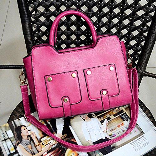 Simple de Bolso GuoFeng Bolso Black la Pink Ocasional Bolsos Bolso Hombro Las Señoras de Nuevos Manera Remache Color del Bolso de tEtvqf