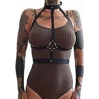 PU lederen 2 stks bretels sexy lingerie vrouwen halter top body harnas dames kleding sex taille riem nachtclub slijtage